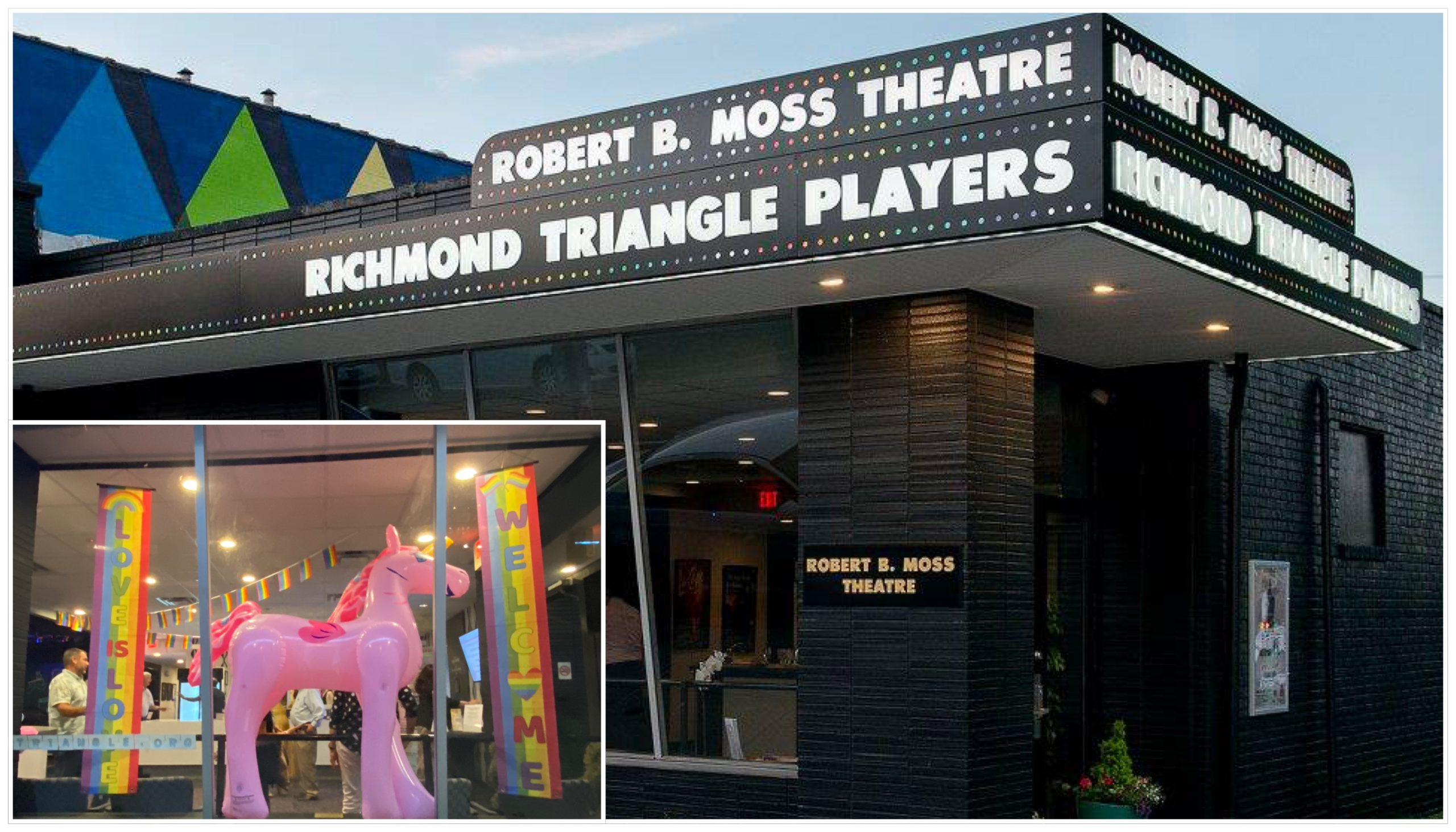 RTP Theater Front With Pink Unicorn In Window